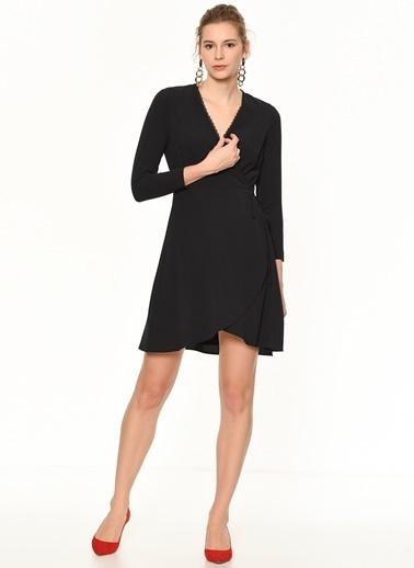 Random Kruvaze Yaka Kesimli Beli Bağlamalı Mini Elbise Siyah